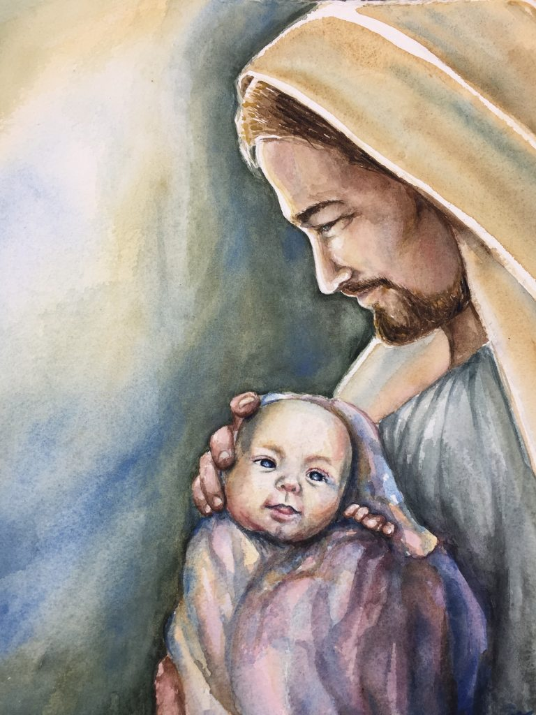 Painting Jesus Christ holding and looking at baby Alice